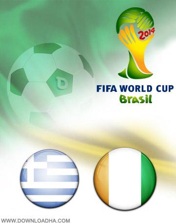 Greece vs Ivory Coast 24.06.2014 دانلود بازی یونان و ساحل عاج   جام جهانی 2014