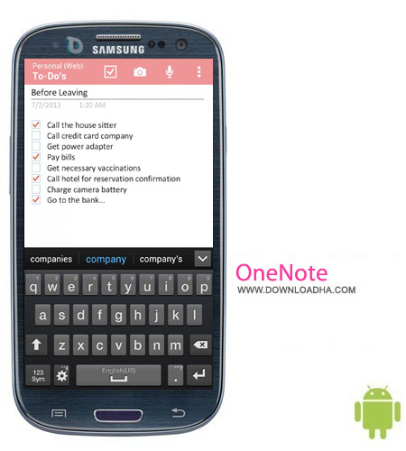 OneNote 15.0.2727.2300 نرم افزار دفترچه یادداشت OneNote 15.0.2727.2300 – اندروید